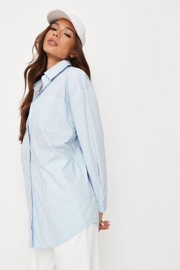 Missguided Blue Extreme Oversized Poplin Pastel Shirt
