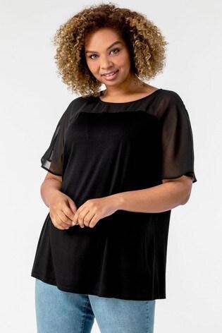 Roman Black Curve Mesh Yoke Jersey Top