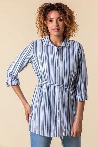 Roman Blue Stripe Print Belted Shirt