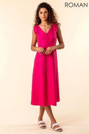 Roman Pink Tie Shoulder Detail Midi Dress
