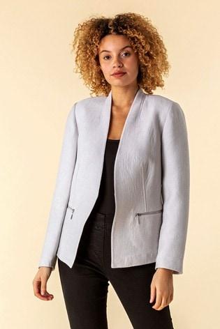 Roman Grey Zip Detail Pleated Jacket