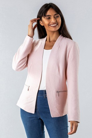 Roman Pink Zip Detail Pleated Jacket