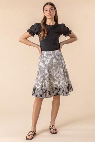 Roman Multi Feather Print A-Line Cotton Skirt
