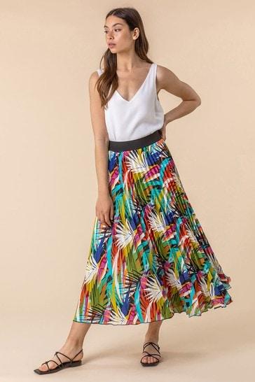 Roman Multi Pleated Maxi Skirt