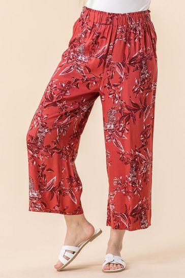 Roman Red Leopard Leaf Print Culotte Trousers