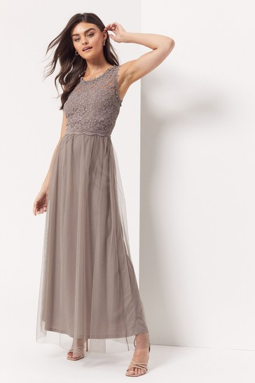 Vila Brown Sleeveless Lace And Tulle Maxi Dress