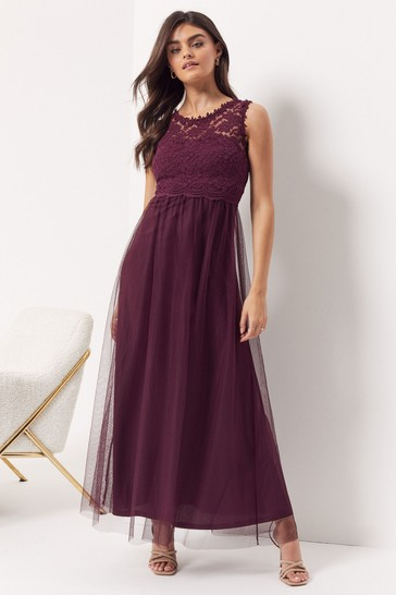 Vila Burgundy Sleeveless Lace And Tulle Maxi Dress