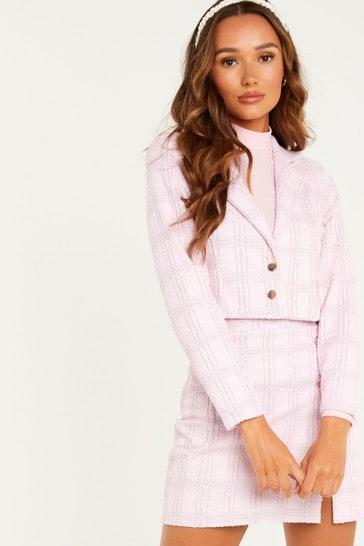 Quiz Pink Checked  Cropped Blazer