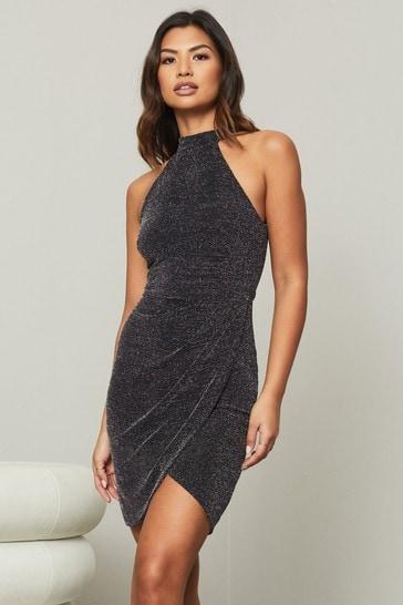 Lipsy Black Glitter Regular Halterneck Dress