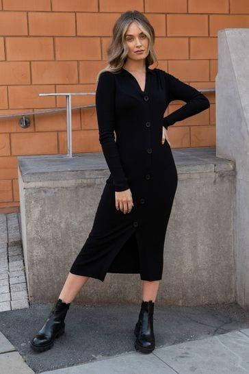 Threadbare Black Ribbed Dress