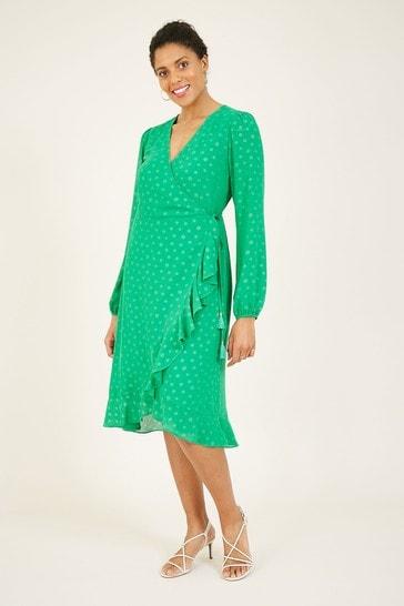 Yumi Green Spotted 'Greta' Wrap Dress