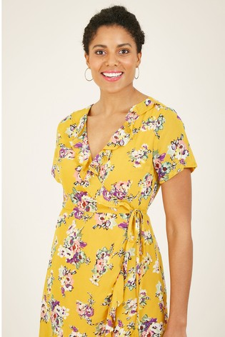 Yumi Yellow Floral Wrap 'Esma' Frill Dress