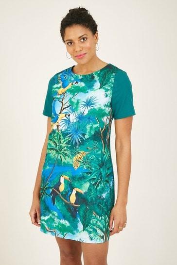 Yumi Green Jungle Print 'Elodie' Tunic Dress