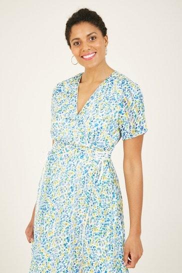 Yumi Blue 'Paislay' Ditsy Flower Metalic Yarn Wrap Dress