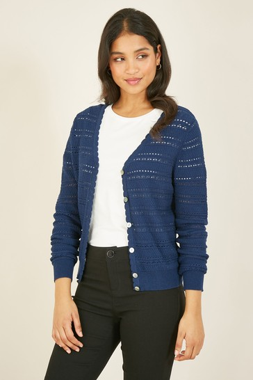 Yumi Navy Pointelle Knitted Cardigan
