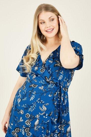 Yumi Blue Bird Print 'Marie' Wrap Dress