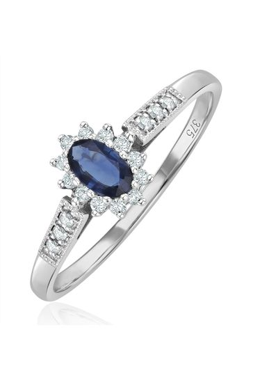 The Diamond Store Blue Sapphire Ring with Lab Diamonds in 925 Silver - 5 x 3mm Centre