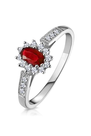 The Diamond Store Red Ruby Ring with Lab Diamonds in 925 Silver - 5 x 3mm Centre