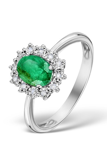 The Diamond Store Green Emerald Ring With Lab Diamond Halo 7 x 5mm Set in 925 Silver
