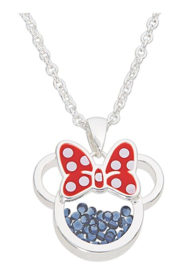 Peers Hardy Silver Minnie Silver Plated Brass with Red enamel Bow September Birthstone Floating Stone Necklace CF00308SSEPLQ