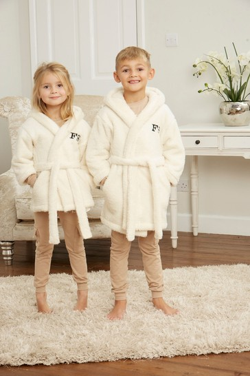 Personalised Junior Hooded Fluffy Gown by Forever Sewing