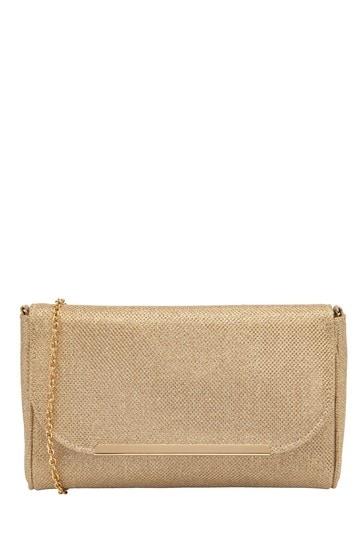 Lotus Footwear Gold Shimmering Textile Clutch Bag
