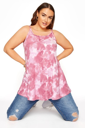 Yours Pink All Over Print Tie Dye Strappy Vest