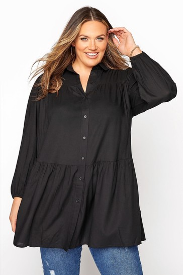 Yours Black Long Sleeve Tiered Tunic Blouse