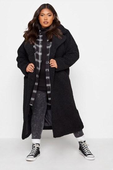 Yours Black Maxi Teddy Coat