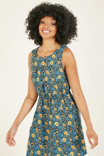 Mela Blue Floral 'Zaina' Tunic With Zip Pockets