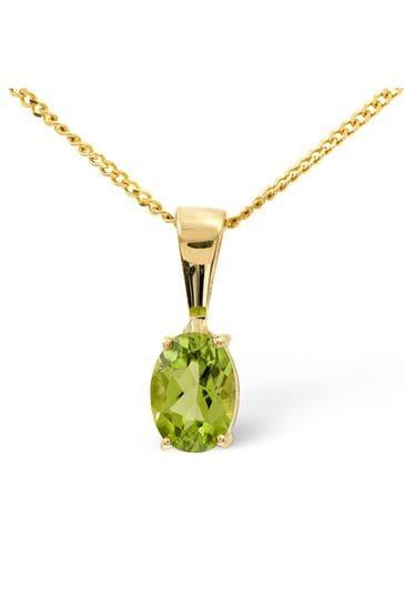 The Diamond Store Green Peridot 7 x 5mm 9K Yellow Gold Pendant Necklace