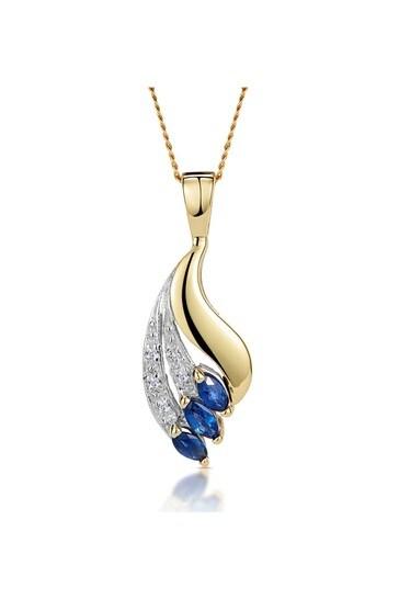 The Diamond Store Blue Sapphire 4 x 2mm And Diamond 9K Yellow Gold Pendant Necklace