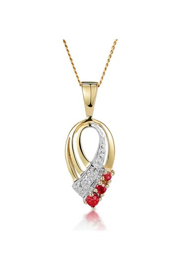 The Diamond Store Red Ruby 2.25mm And Diamond 9K Yellow Gold Pendant Necklace