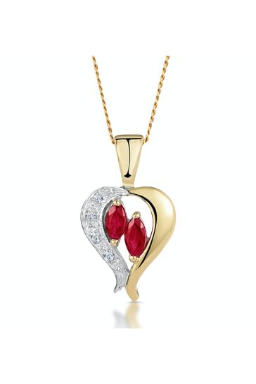 The Diamond Store Red Ruby 5 x 3mm And Diamond 9K Yellow Gold Pendant Necklace