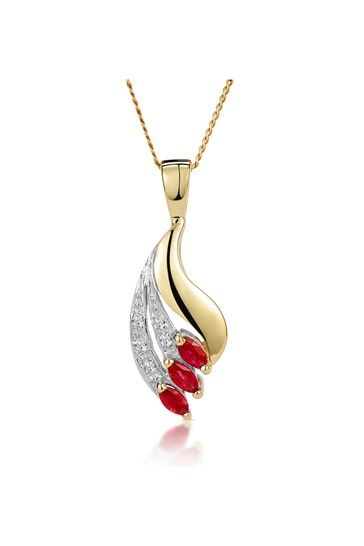 The Diamond Store Red Ruby 4 x 2mm And Diamond 9K Yellow Gold Pendant Necklace
