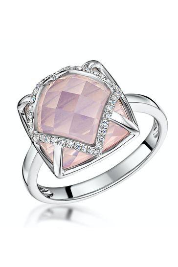 The Diamond Store Pink Stellato Collection Rose Quartz and Diamond Ring 9K White Gold