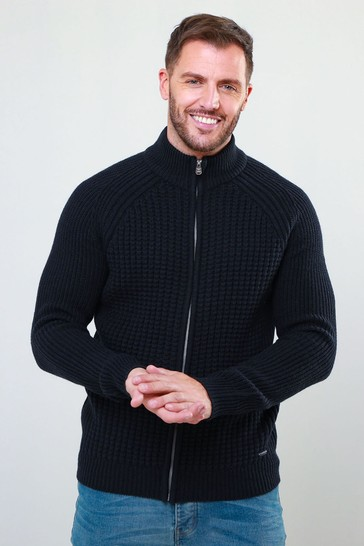 Threadbare Blue Zip Through Cardigan With Wool