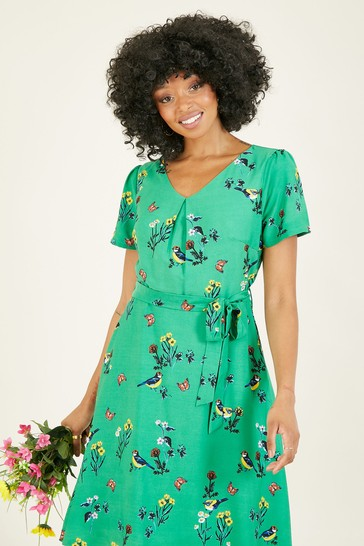 Yumi Green Jose' Bird Print Skater Dress