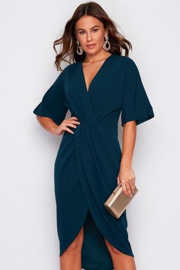 Girl In Mind Teal Short Sleeve Wrap Dress