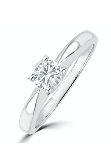 The Diamond Store White Tapered Design Lab Diamond Engagement Ring 0.33ct H/Si 9K White Gold