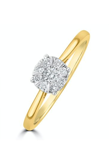 The Diamond Store White 0.25ct Lab Diamond Cluster Solitaire Ring H/Si in 9K Gold
