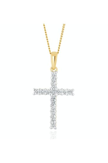 The Diamond Store Gold Lab Diamond Cross Pendant Necklace Claw Set 0.25ct H/Si in 9K Gold