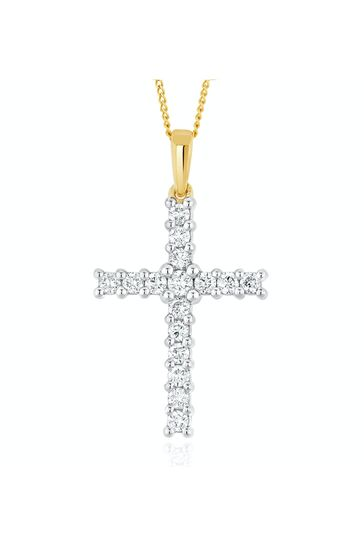 The Diamond Store White Lab Diamond Cross Pendant Necklace Claw Set 0.50ct H/Si in 9K Gold