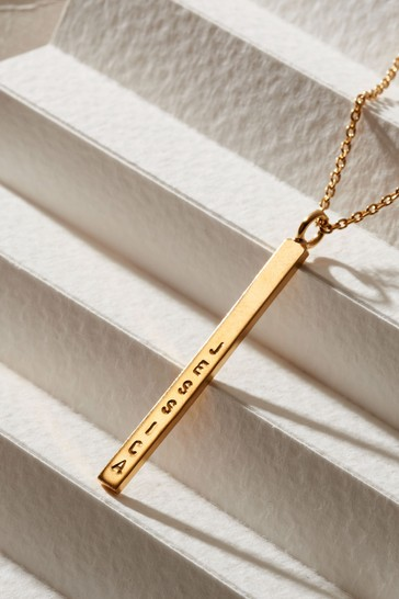 Personalised Slim Bar Necklace by Posh Totty Designs