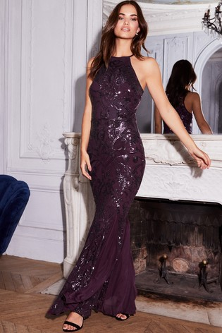 lace up in best sale store Buy Lipsy VIP Sequin Halter Maxi Dress from Next Ireland