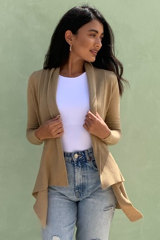 Lipsy Camel Knitted Waterfall Cardigan