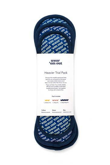 Wear Em Out Heavier Trial Pack of Reusable Period Pads