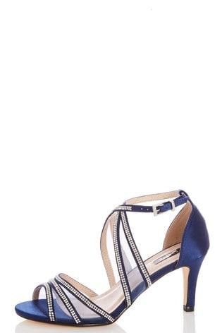 Quiz Wide Fit Satin Diamanté Mesh Mix Cross Strap Heeled Sandals