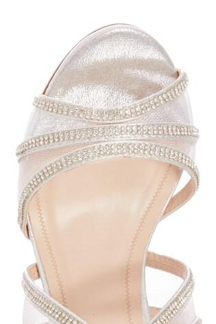 Quiz Silver Wide Fit Satin Diamante Mesh Mix Cross Strap Heeled Sandals