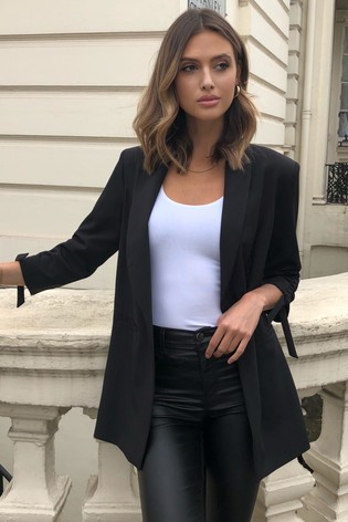 Lipsy Black Ruched Sleeve Blazer